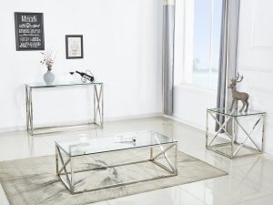 Ensemble console table basse et table d'appoint OCEANE