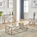 Ensemble table basse, table d'appoint et console structure or gold et verre