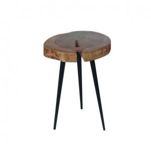 Table gigogne JIMI avec plateau en bois exotique et pied métallique