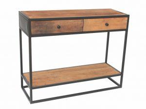 Console en bois recyclé avec 2 tiroirs