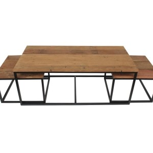 Table gigogne en bois recyclé et cadre métal noir