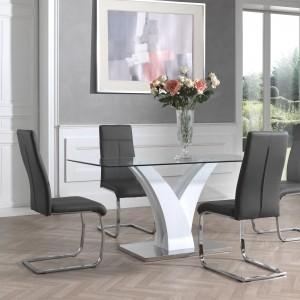 Table avec plateau en verre securit de 160 x 80 cm