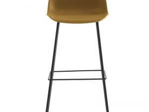 chaise de bar avec une assise de 75 cm de hauteur couleur PP ocre jaune