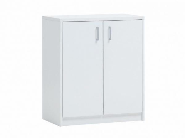 commode 2 portes couleur blanche 84 cm de hauteur