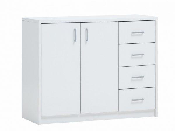 commode 2 portes et 4 tiroirs couleur blanche