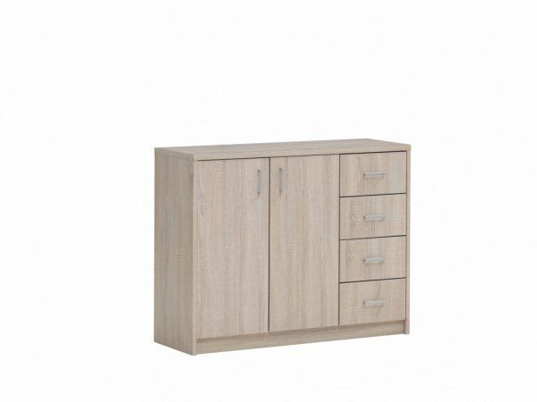 commode 4 tiroirs et 2 portes couleur décor sonoma