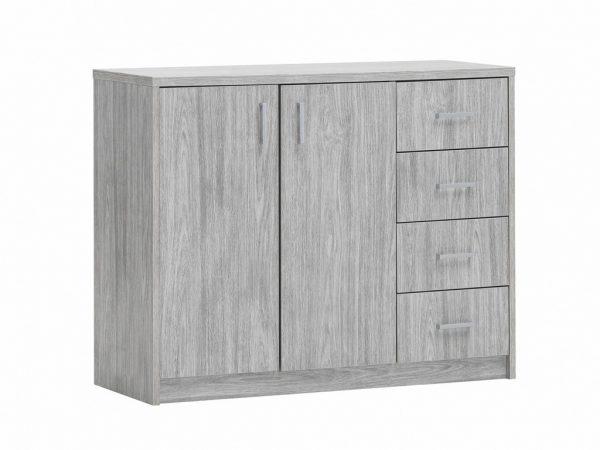 une commode avec 2 portes et 2 tiroirs couleur chêne gris