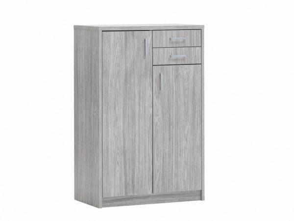 Armoire 2 portes et 2 tiroirs décor chêne gris hauteur 110 cm