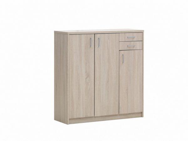 Commode de rangement 3 portes et 2 tiroirs couleur chene sonoma