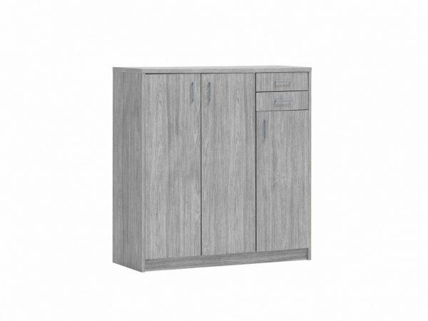 Commode de rangement 3 portes et 2 tiroirs couleur chêne gris
