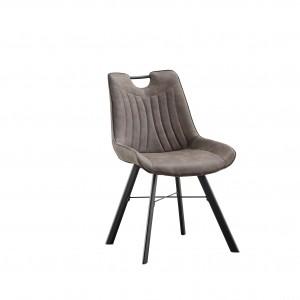 Chaise avec poignet en acier pour salle à manger PU Gris foncé