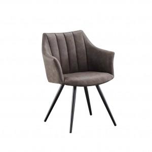 Chaise avec accoudoirs très élégeants pu gris foncé