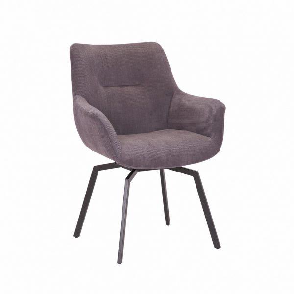 Chaise pivotante velours côtelé gris