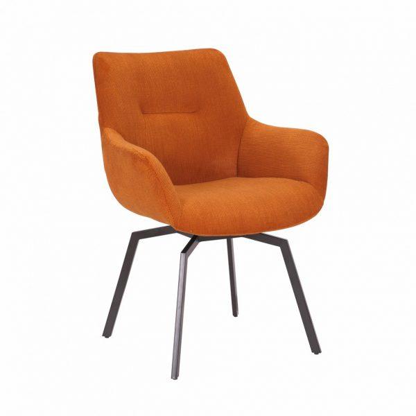 Chaise pivotante en velours côtelé orange