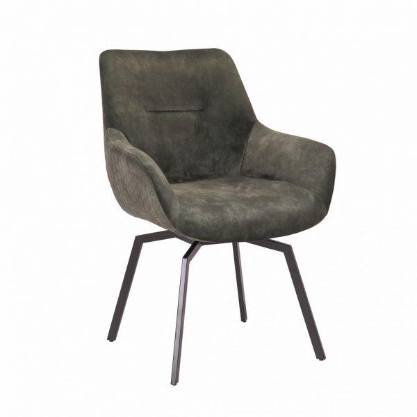 Chaise pivotante en velours vert