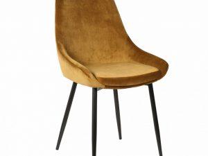 Chaise pour l'aménagement de la salle à manger en velours or