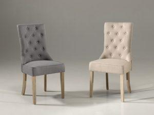 Ensemble de chaises en tissu et pieds antique brossé