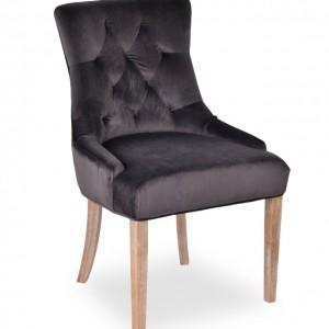 Chaise velours gris et pieds bois antique brossé