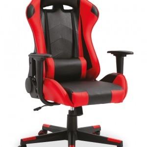 Chaise de bureau Pu Rouge et noir. Dos et accoudoirs amovible