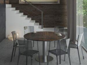 table ronde en céramique acier