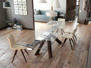 Table en verre trempé avec rallonges intégrées