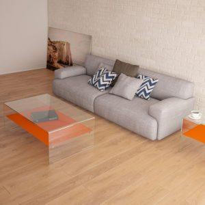 Table basse avec plateau intermédiaire laqué orange