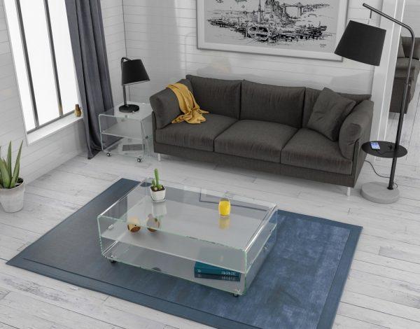 Table basse avec tablette cristallin en verre courbé à chaud