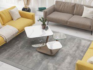 Table de salon avec 4 plateaux amovibles en céramique marbre