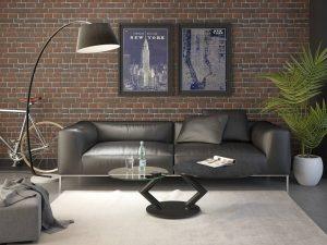 Table de salon avec deux bras pivotant en céramique titane