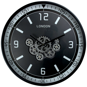 Horloge mural avec engrenages rotatifs et chiffres romains.