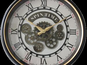 Horloge à roues dentées noir et or