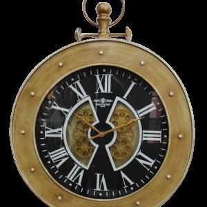 Horloge chronomètre avec des engrenages qui tournent contour couleur or