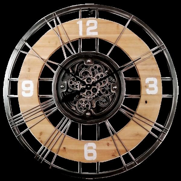 Horloge bois et engrenages qui se déplacent