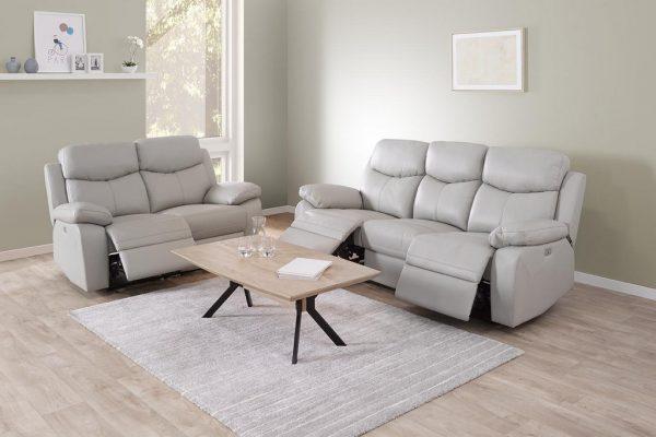 ensemble salon 3 places + 2 places demi-cuir gris clair