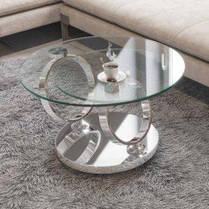 Table basse avec plateaux verre clair