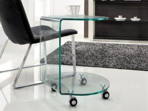 Bout de canapé verre clair courbé à chaud sur roulettes