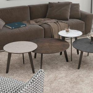 Table basse ronde en céramique de différents coloris