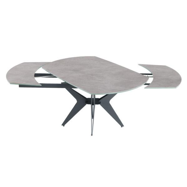 Table en ceramique avec rallonges intégrées couleur ciment