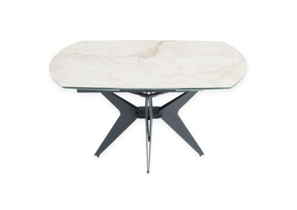 Table en céramique avec rallonges intégrées couleur marbre