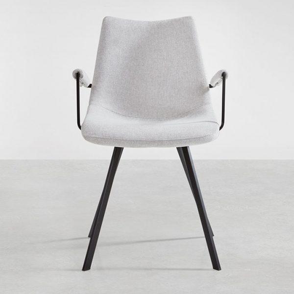 Chaise avec accoudoirs coloris gris clair
