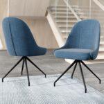 Chaise confortable tissu bleu