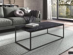 Table de salon couleur marbre foncé