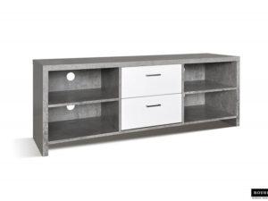 Meuble tv dixon avec 2 tiroirs coloris gris béton et blanc