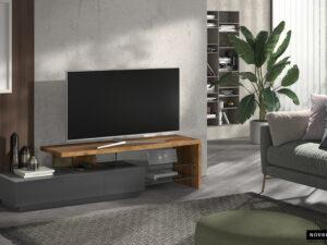 Meuble tv couleurs gris mat et noyer dimensions 180x40x45 cm