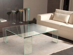 Table basse en verre courbe a chaud
