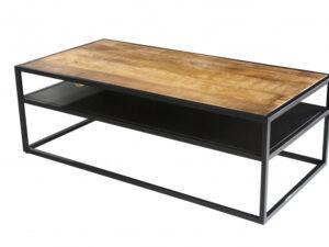 Table basse en bois recyclé sur métal