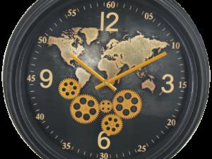 Horloge à engrenages mobiles déco terre coloris noir et or