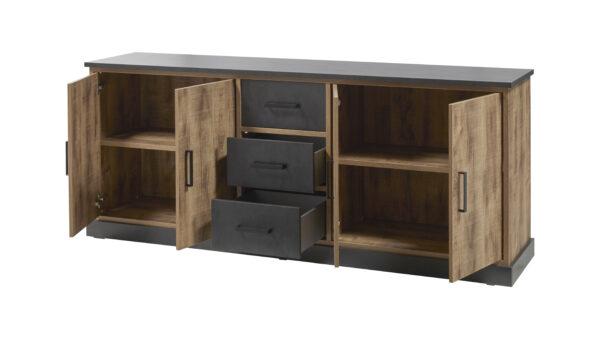 Dressoir owen 4 portes et 3 tiroirs finition décor chêne foncé