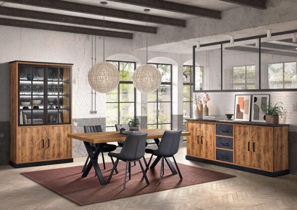 salle à manger OWEN avec dressoir de 226 cm, argentier et table de 200 cm