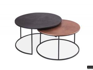 Set de 2 tables basses 100% métal noir et or